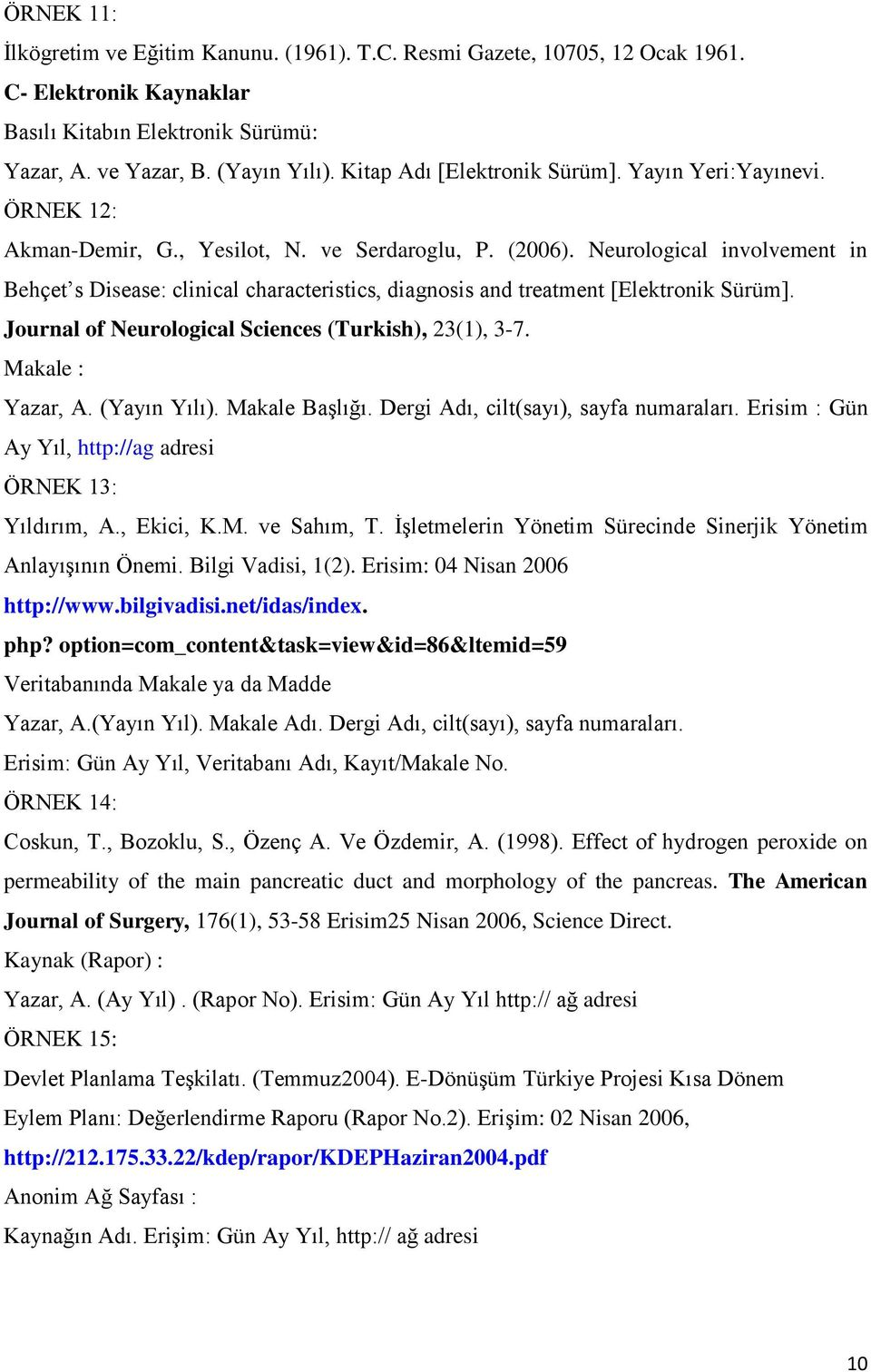 Neurological involvement in Behçet s Disease: clinical characteristics, diagnosis and treatment [Elektronik Sürüm]. Journal of Neurological Sciences (Turkish), 23(1), 3-7. Makale : Yazar, A.