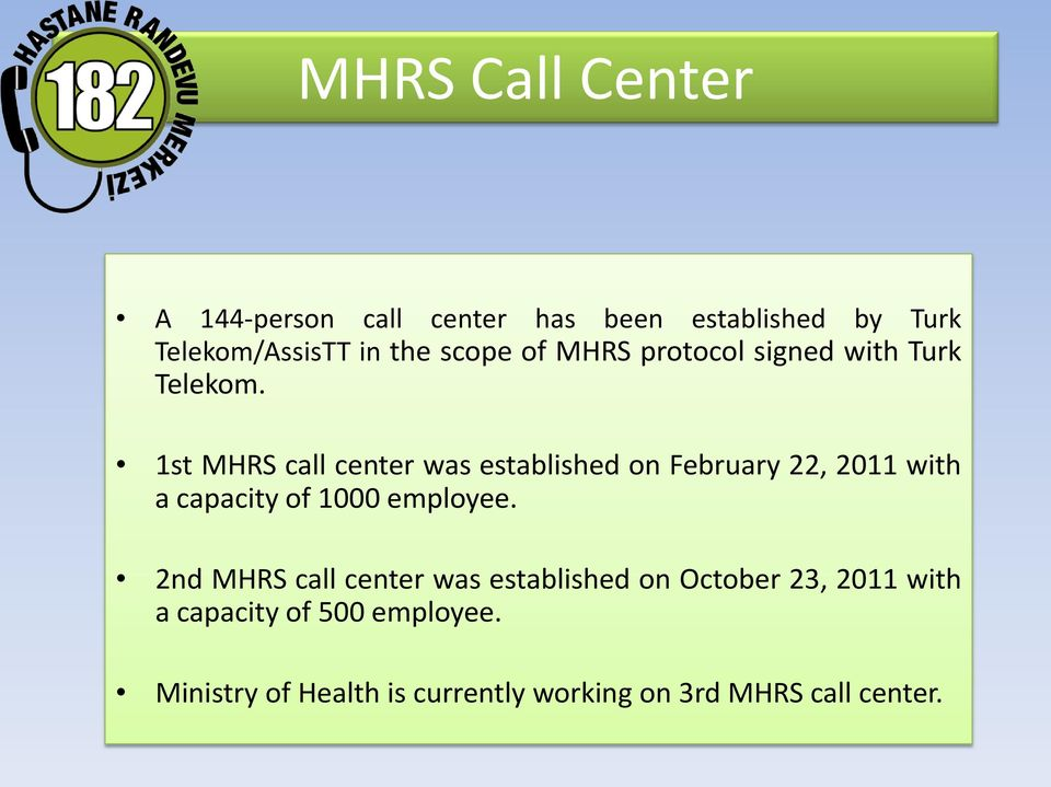 1st MHRS call center was established on February 22, 2011 with a capacity of 1000 employee.
