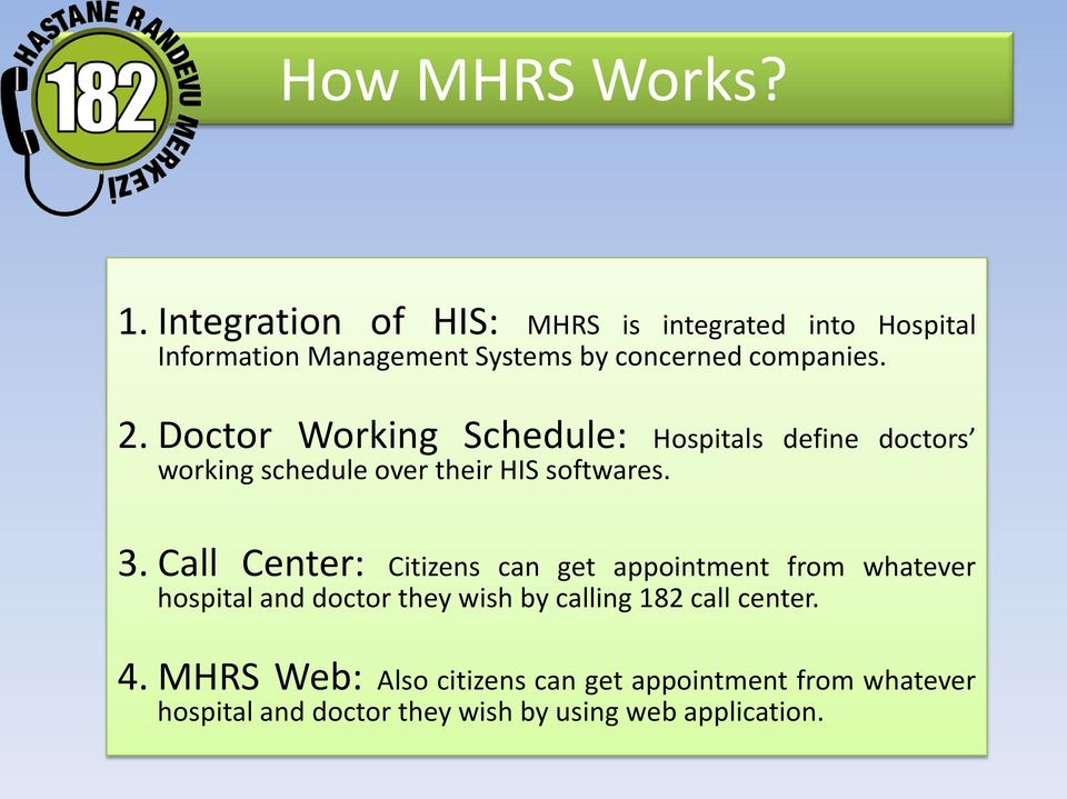 Doctor Working Schedule: Hospitals define doctors working schedule over their HIS softwares. 3.