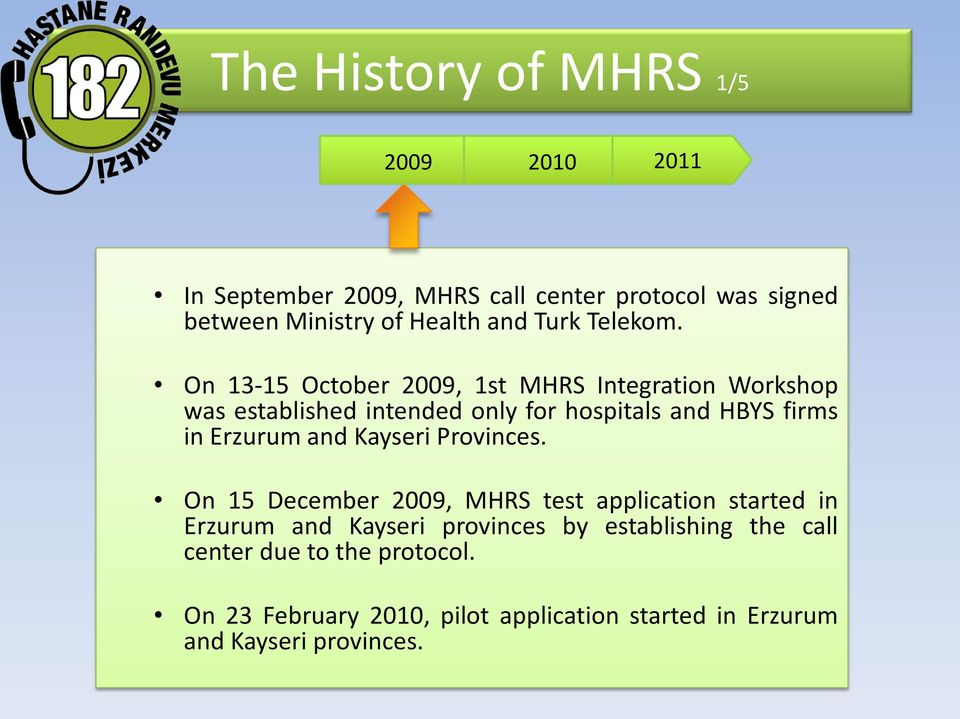 On 13-15 October 2009, 1st MHRS Integration Workshop was established intended only for hospitals and HBYS firms in Erzurum
