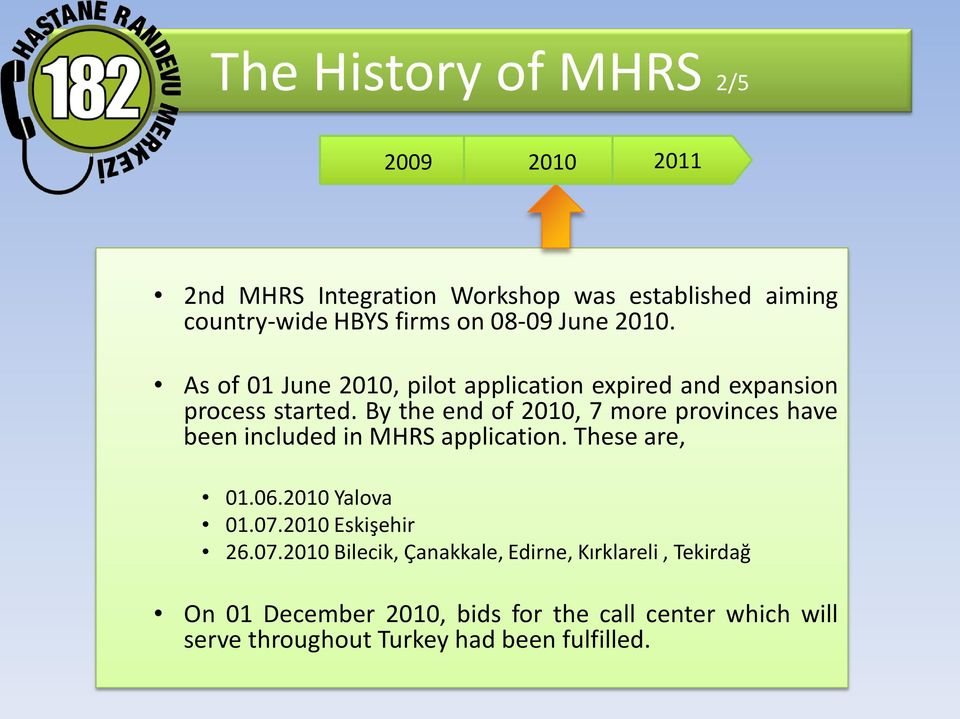 By the end of 2010, 7 more provinces have been included in MHRS application. These are, 01.06.2010 Yalova 01.07.