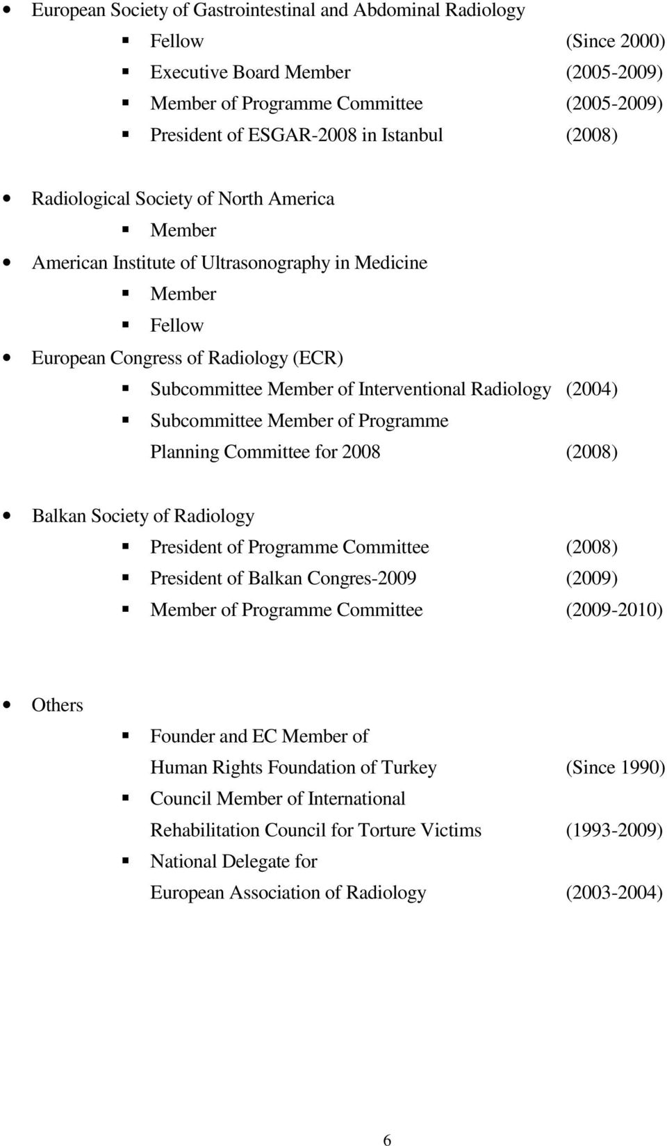 Radiology (2004) Subcommittee Member of Programme Planning Committee for 2008 (2008) Balkan Society of Radiology President of Programme Committee (2008) President of Balkan Congres-2009 (2009) Member
