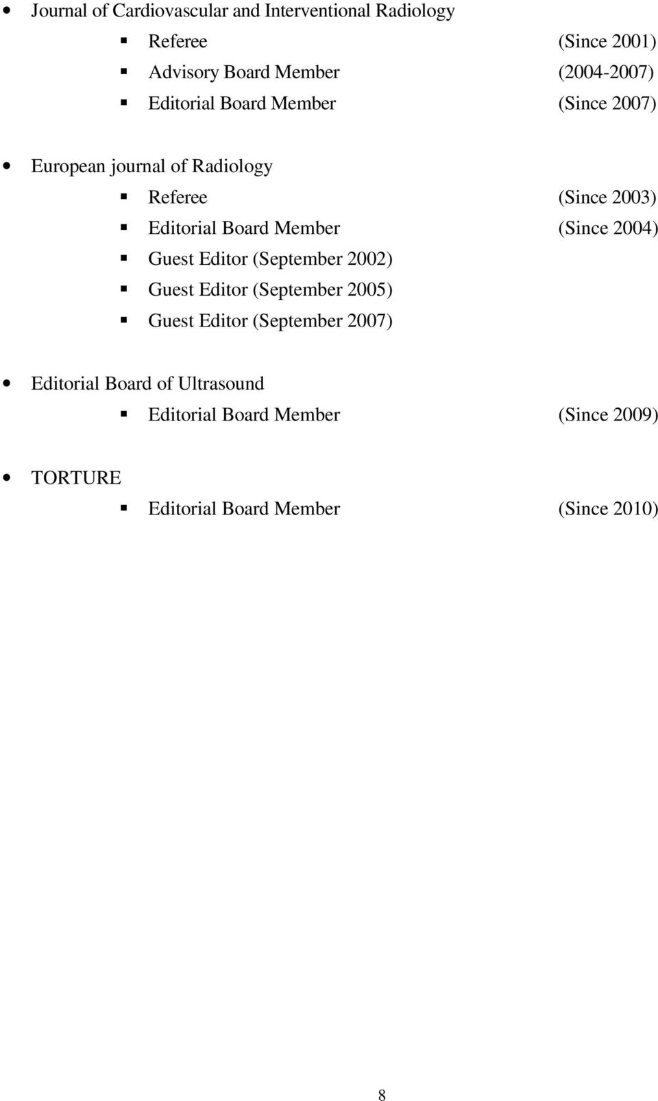 Board Member (Since 2004) Guest Editor (September 2002) Guest Editor (September 2005) Guest Editor
