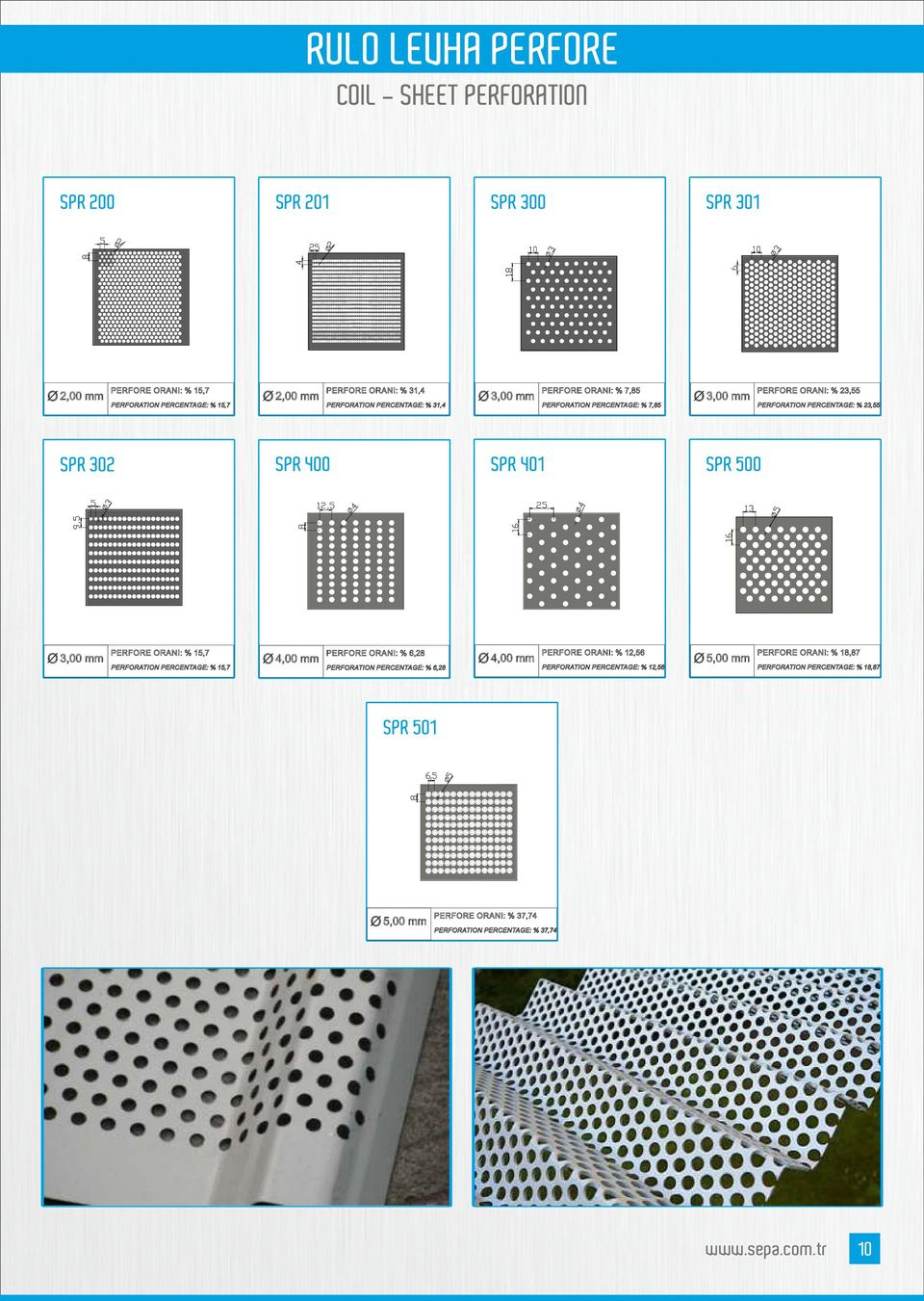 SPR 401 SPR 500 O 3,00 mm PERFORE ORANI % 15,7 PERFORATION PERCENTAGE % 15,7 O 4,00 mm PERFORE ORANI % 6,28 PERFORATION PERCENTAGE % 6,28 O 4,00 mm PERFORE ORANI % 12,56