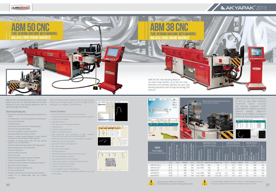 ABM 50 CNC Tube Bending Machine can bend tubes  Technical Features: Bending, moving ahead, postponing and turning with servo control Controlling ability of servo axis speeds from control panel