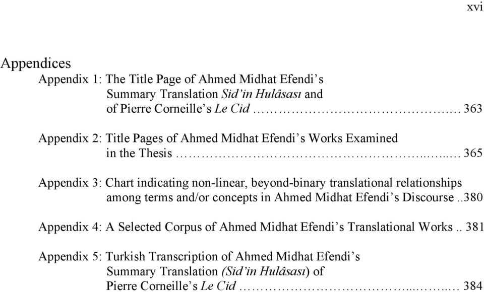 .... 365 Appendix 3: Chart indicating non-linear, beyond-binary translational relationships among terms and/or concepts in Ahmed Midhat Efendi s