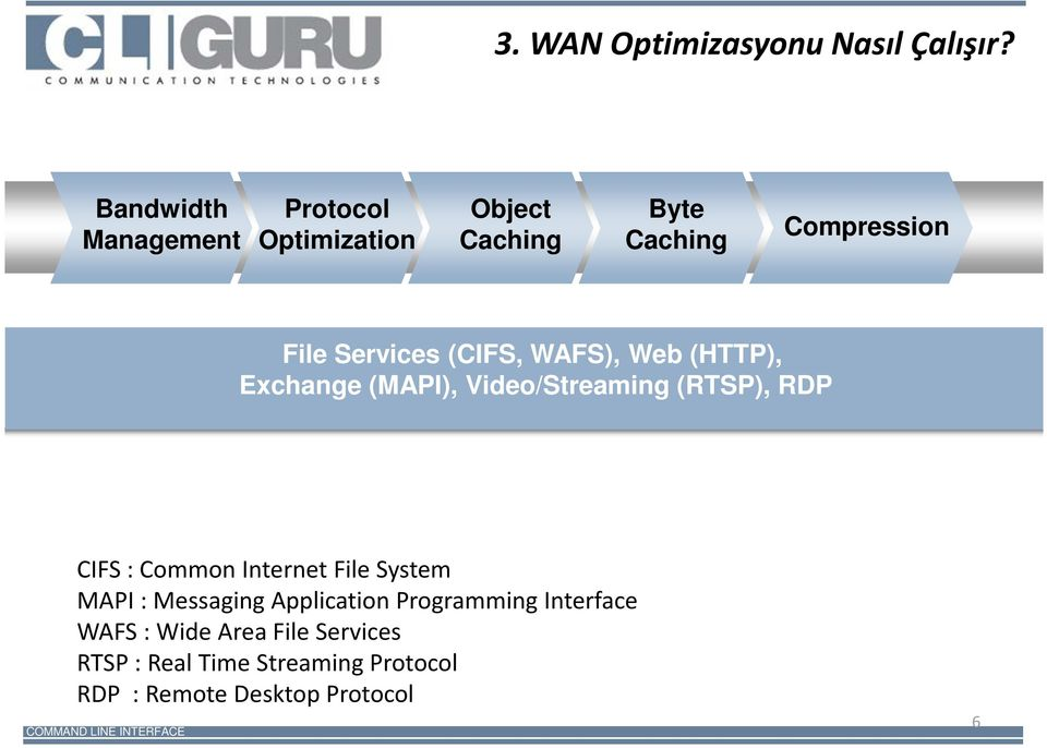 (CIFS, WAFS), Web (HTTP), Exchange (MAPI), Video/Streaming (RTSP), RDP CIFS : Common Internet