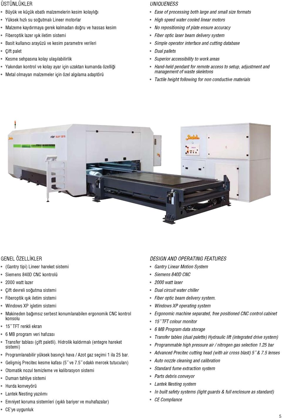 adaptörü UNIQUENESS Ease of processing both large and small size formats High speed water cooled linear motors No repositioning of plate ensure accuracy Fiber optic laser beam delivery system Simple