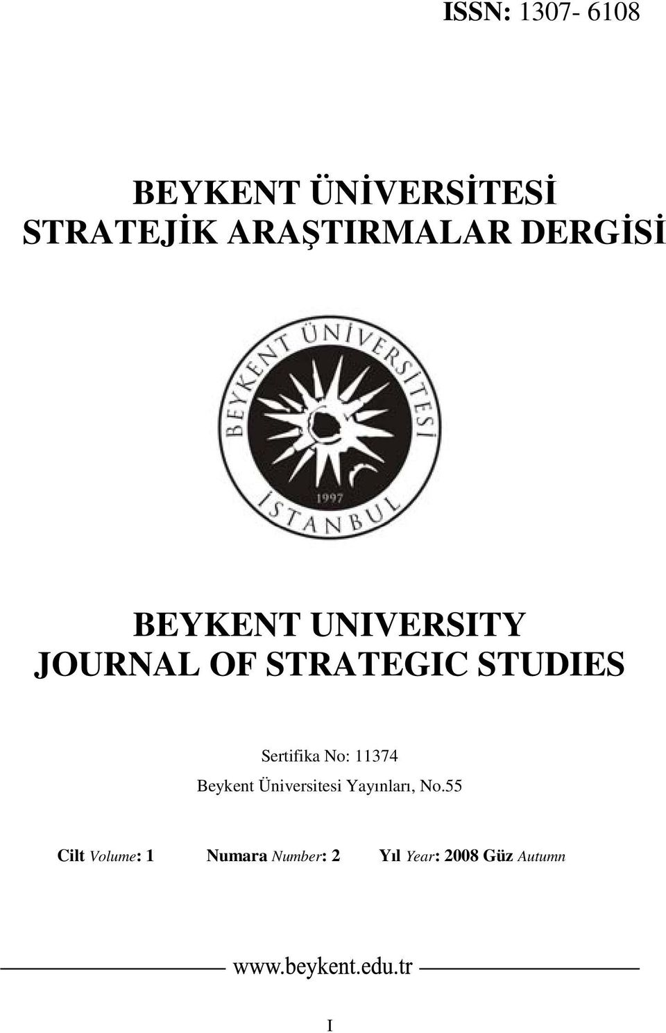 STRATEGIC STUDIES Sertifika No: 11374 Beykent Üniversitesi