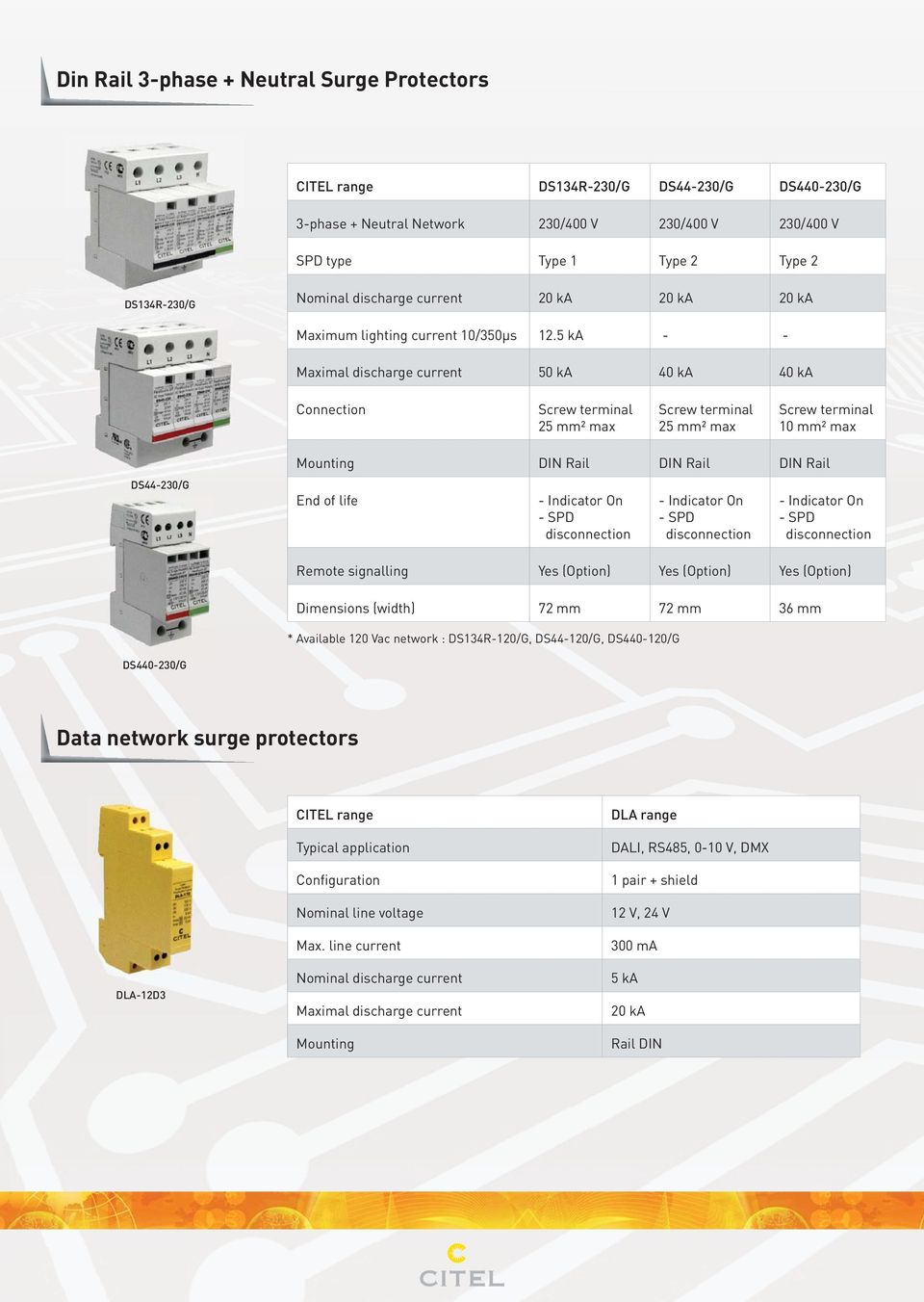 5 ka - - Maximal discharge current 50 ka 40 ka 40 ka Connection 25 mm² max 25 mm² max 10 mm² max DS44-230/G Mounting DIN Rail DIN Rail DIN Rail Remote signalling Yes (Option) Yes (Option) Yes