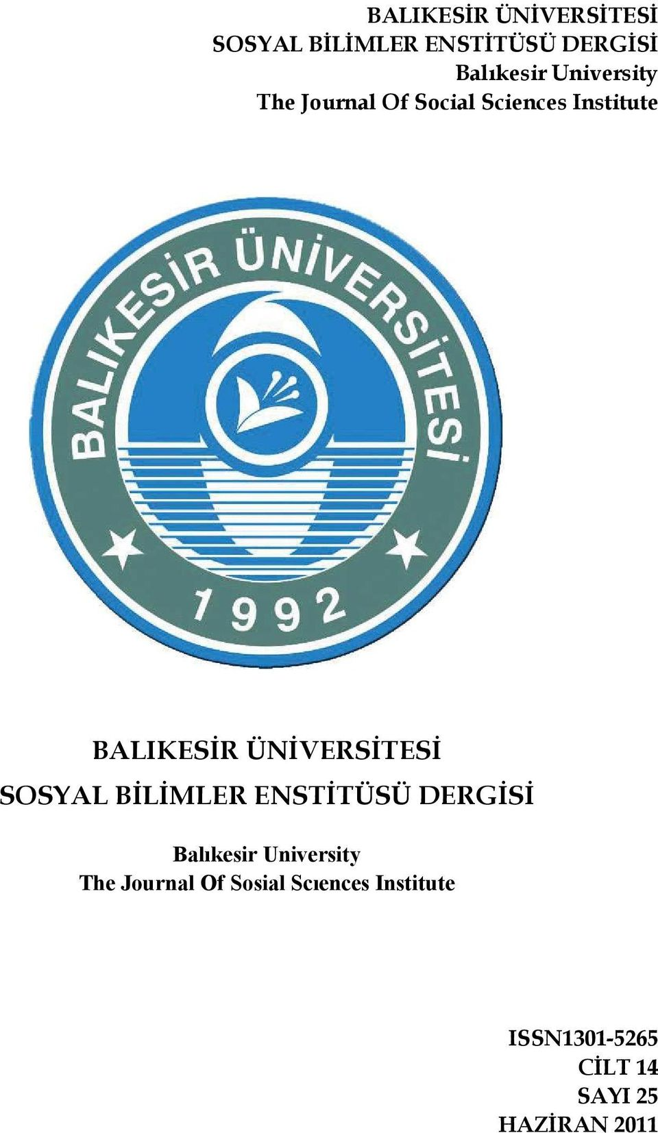 Journal Of Sosial Scıences Institute ISSN1301-5265 CİLT 14 SAYI 25