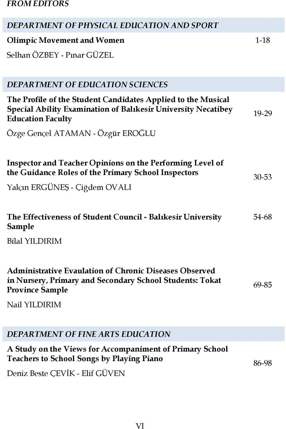 Guidance Roles of the Primary School Inspectors Yalçın ERGÜNEŞ - Çiğdem OVALI 30-53 The Effectiveness of Student Council - Balıkesir University Sample 54-68 Bilal YILDIRIM Administrative Evaulation