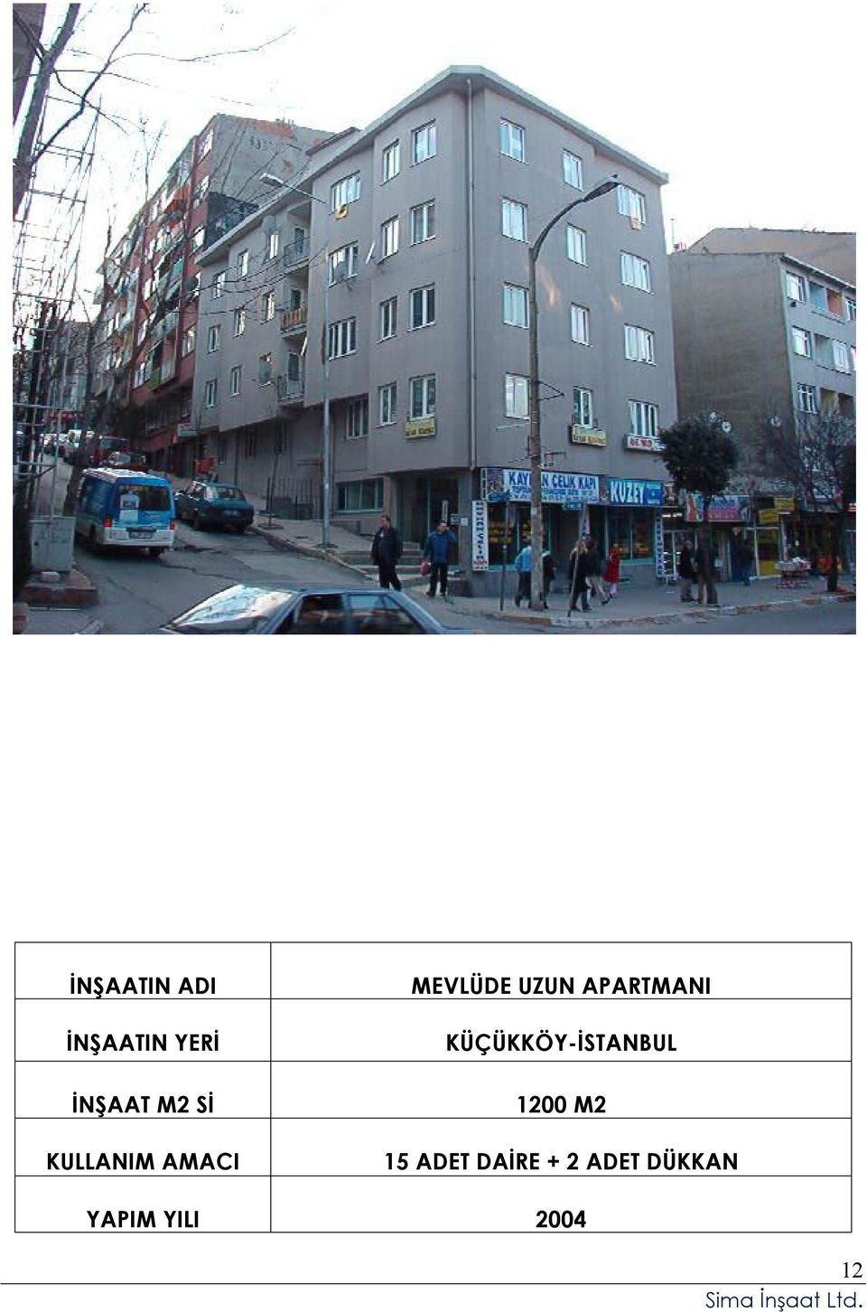 1200 M2 15 ADET DAİRE + 2