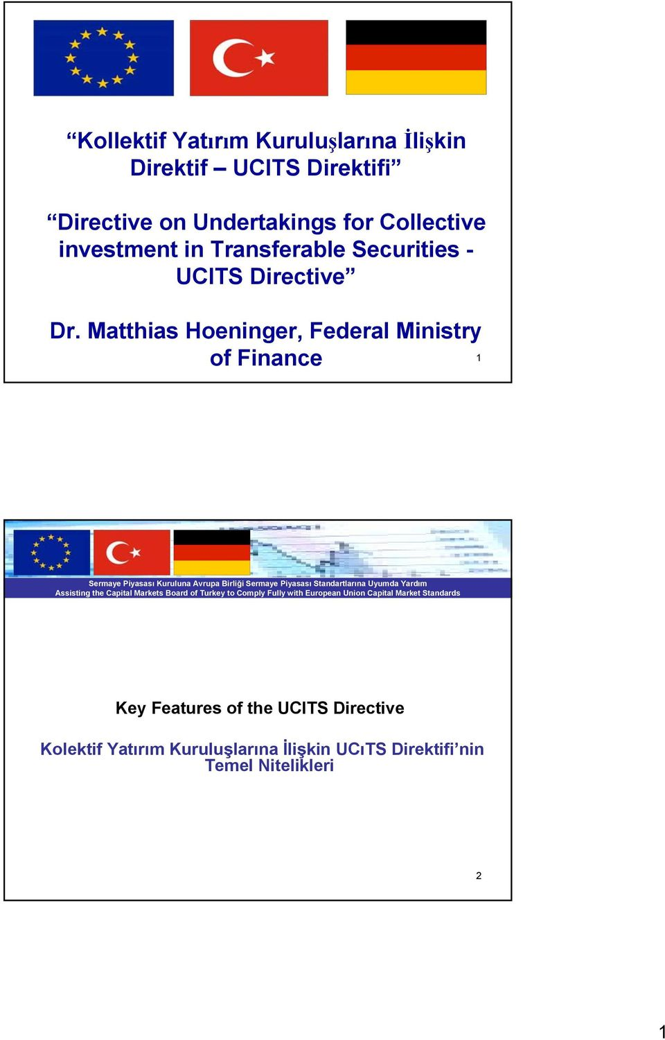 Dr. Matthias Hoeninger, Federal Ministry of Finance 1 Key Features of the