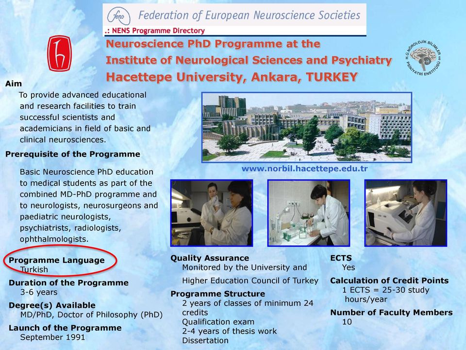 psychiatrists, radiologists, ophthalmologists. Neuroscience PhD Programme at the Institute of Neurological Sciences and Psychiatry Hacettepe University, Ankara, TURKEY www.norbil.hacettepe.edu.