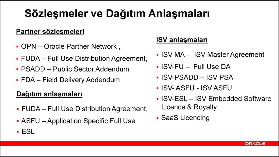 Full Use Distribution Agreement, ASFU Application Specific Full Use ESL ISV anlaşmaları ISV-MA ISV Master