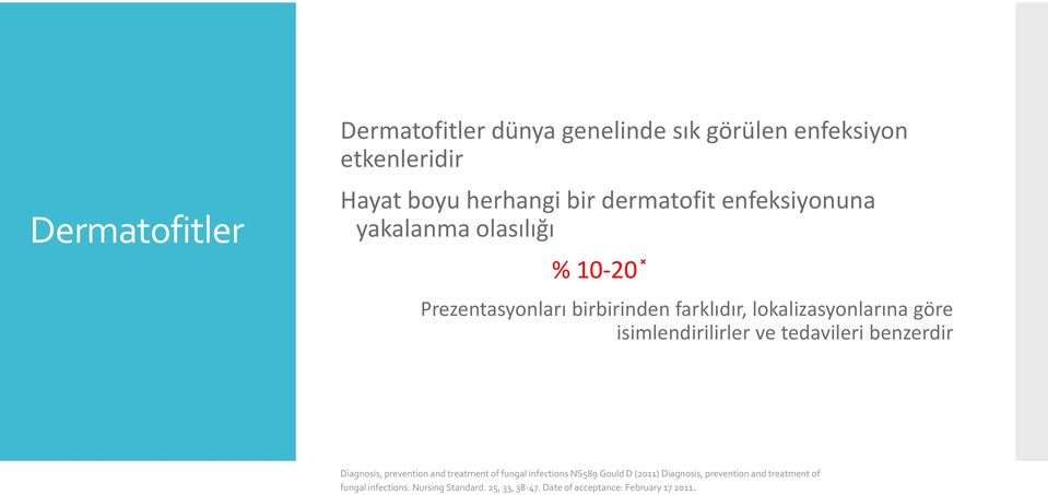 isimlendirilirler ve tedavileri benzerdir Diagnosis, prevention and treatment of fungal infections NS589 Gould D
