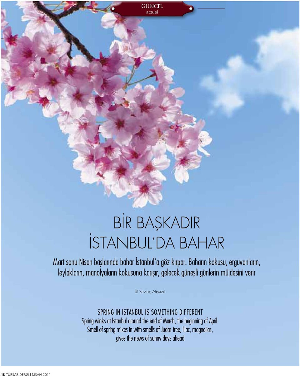 Sevinç Akyazılı Spring in istanbul is something different Spring winks at İstanbul around the end of March, the