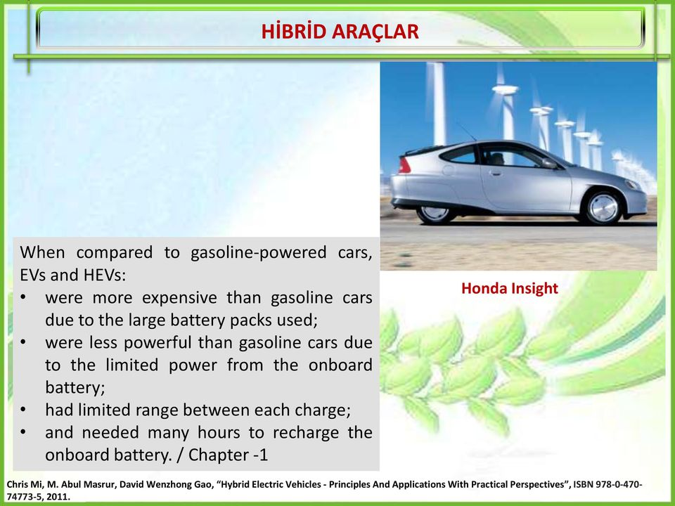 between each charge; and needed many hours to recharge the onboard battery. / Chapter -1 Honda Insight Chris Mi, M.