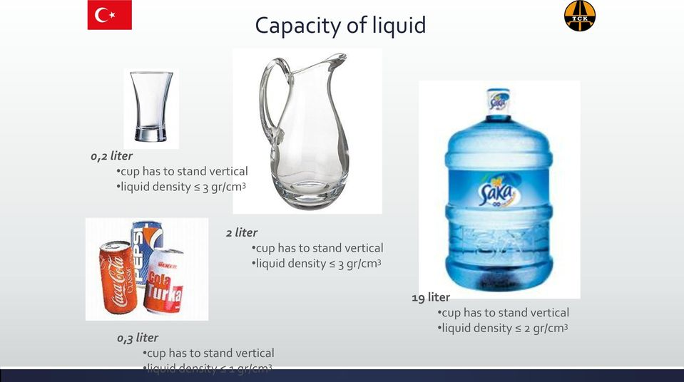 density 3 gr/cm 3 0,3 liter cup has to stand vertical liquid
