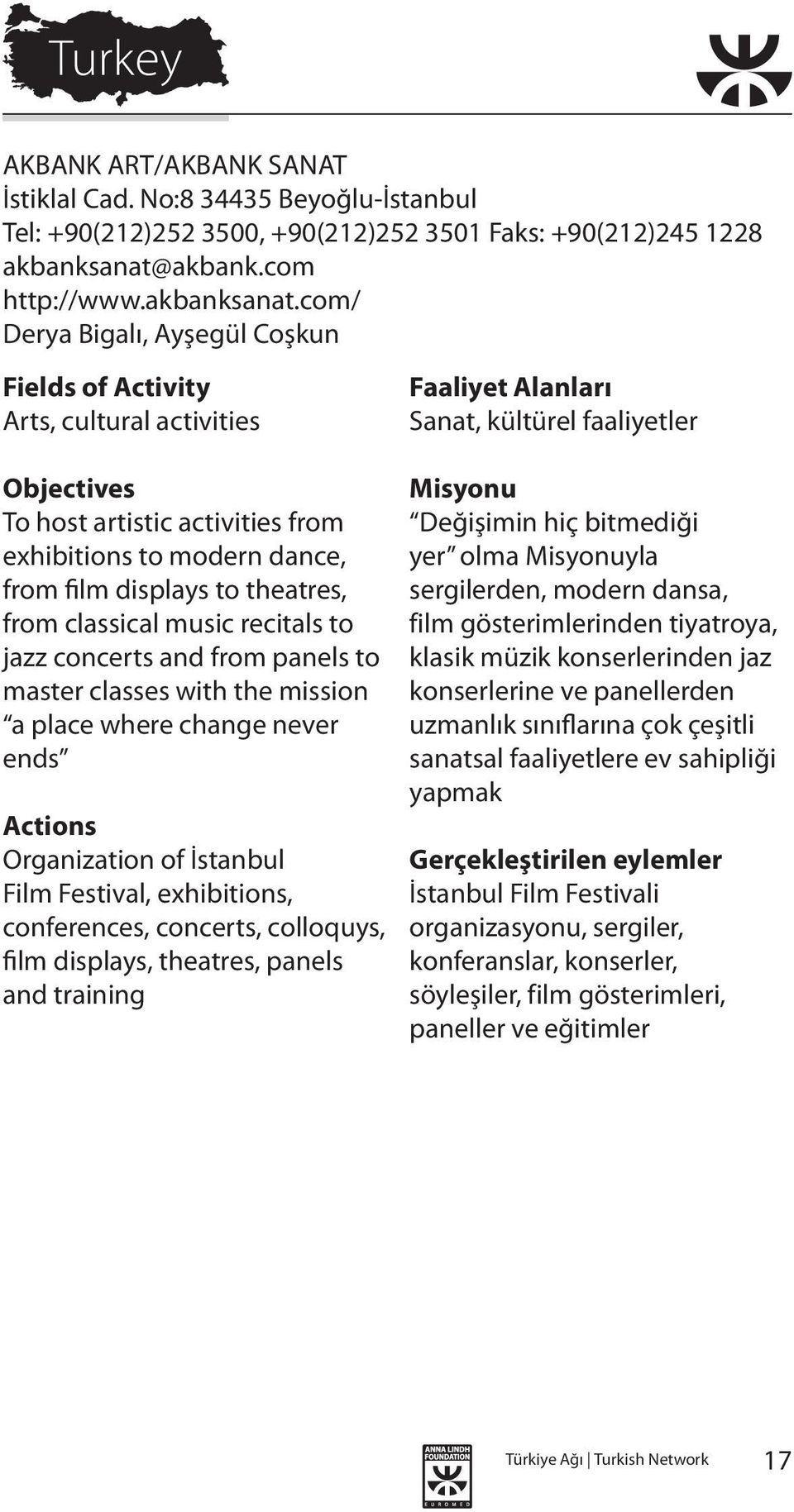 com/ Derya Bigalı, Ayşegül Coşkun Arts, cultural activities To host artistic activities from exhibitions to modern dance, from film displays to theatres, from classical music recitals to jazz
