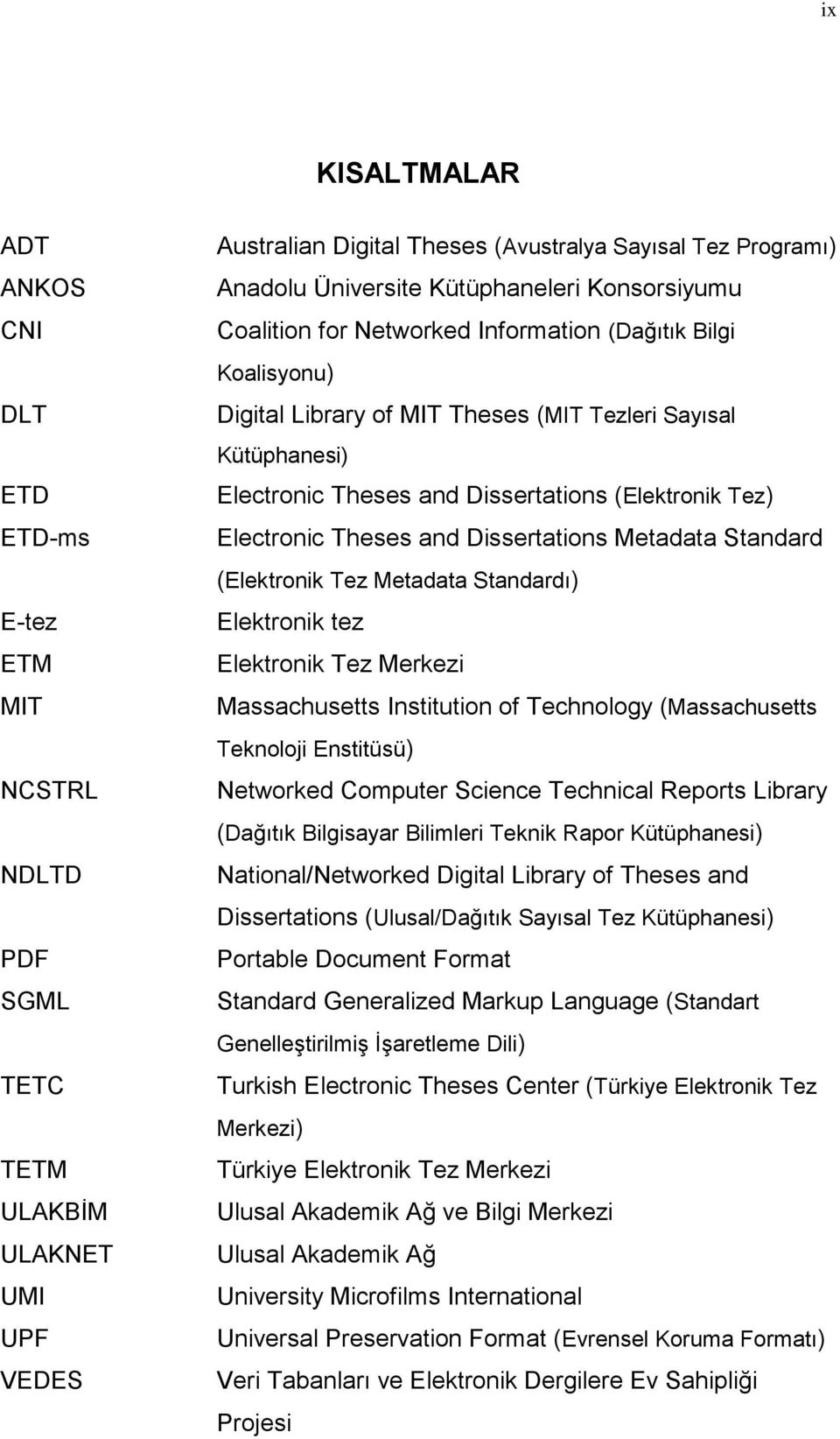 (Elektronik Tez) Electronic Theses and Dissertations Metadata Standard (Elektronik Tez Metadata Standardı) Elektronik tez Elektronik Tez Merkezi Massachusetts Institution of Technology (Massachusetts