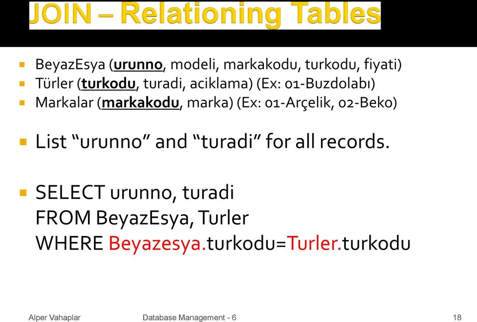 01-Arçelik, 02-Beko) List urunno and turadi for all records.