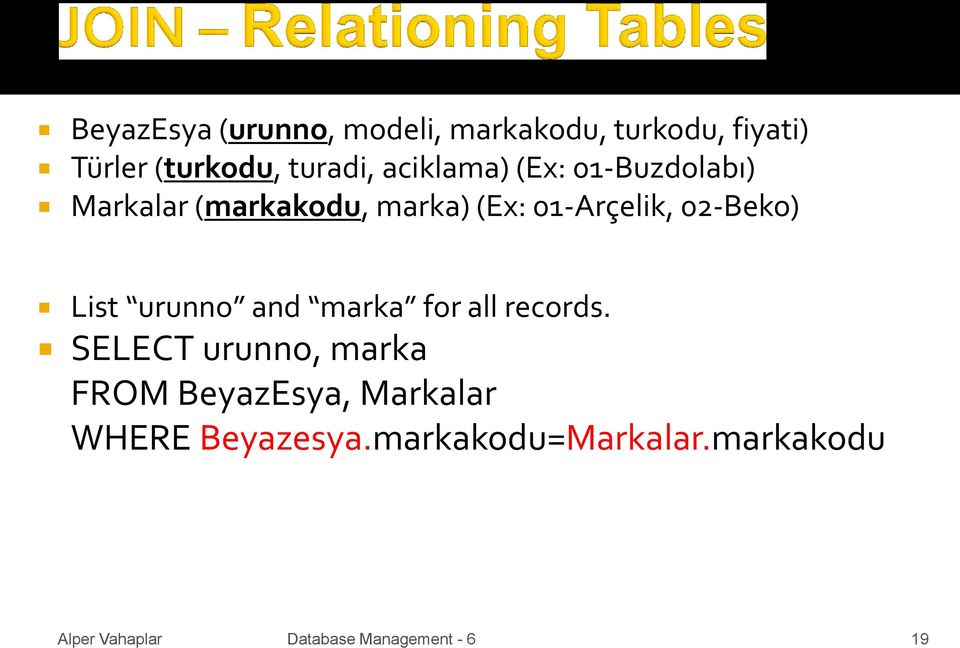 01-Arçelik, 02-Beko) List urunno and marka for all records.