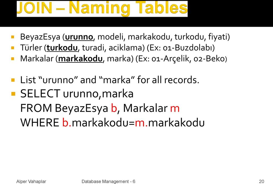 marka) (Ex: 01-Arçelik, 02-Beko) List urunno and marka for all records.
