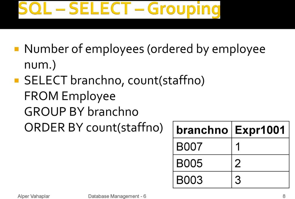 Employee GROUP BY branchno ORDER BY