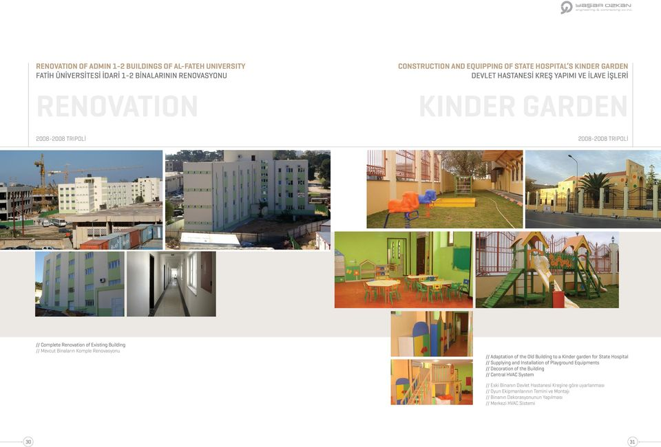Komple Renovasyonu // Adaptation of the Old Building to a Kinder garden for State Hospital // Supplying and Installation of Playground Equipments // Decoration of the Building