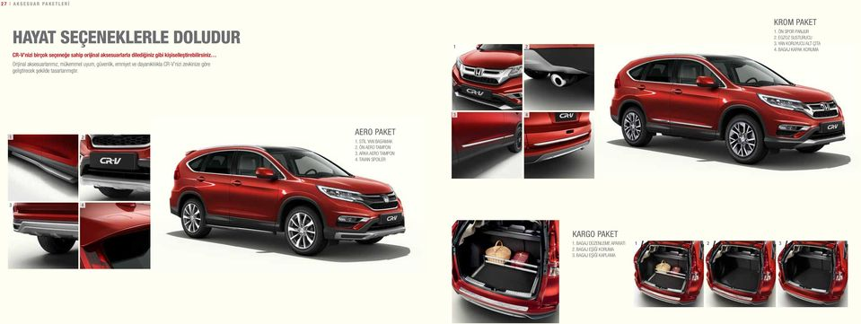 YAN KORUYUCU ALT ÇITA 4. BAGAJ KAPAK KORUMA 1 Personalise your CR-V with genuine accessories, there are a variety of packs to choose from.