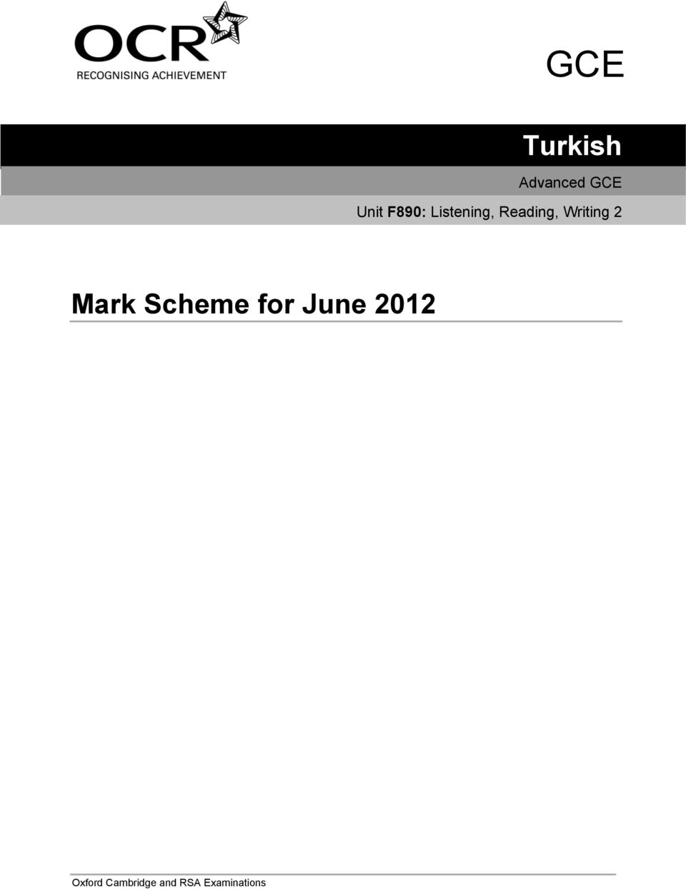 Writing Mark Scheme for June 01
