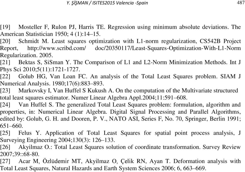 The Comparison of L and L-Norm Minimization Methods. Int J Phys Sci 00;5():7-77. [] Golub HG, Van Loan FC. n analysis of the Total Least Squares problem. SIM J Numerical nalysis. 980;7(6):883 893.