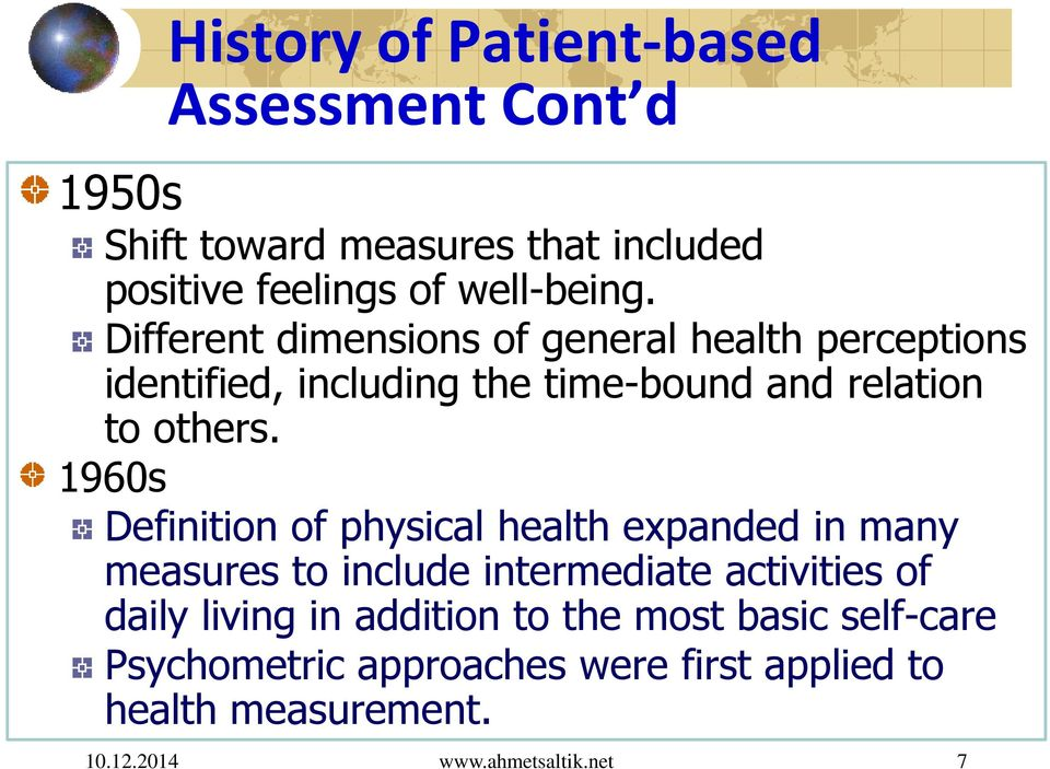 Different dimensions of general health perceptions identified, including the time-bound and relation to others.