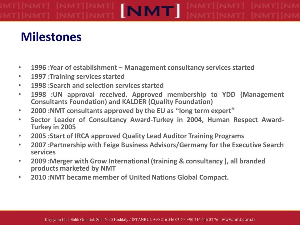 Award-Turkey in 2004, Human Respect Award- Turkey in 2005 2005 :Start of IRCA approved Quality Lead Auditor Training Programs 2007 :Partnership with Feige Business Advisors/Germany for