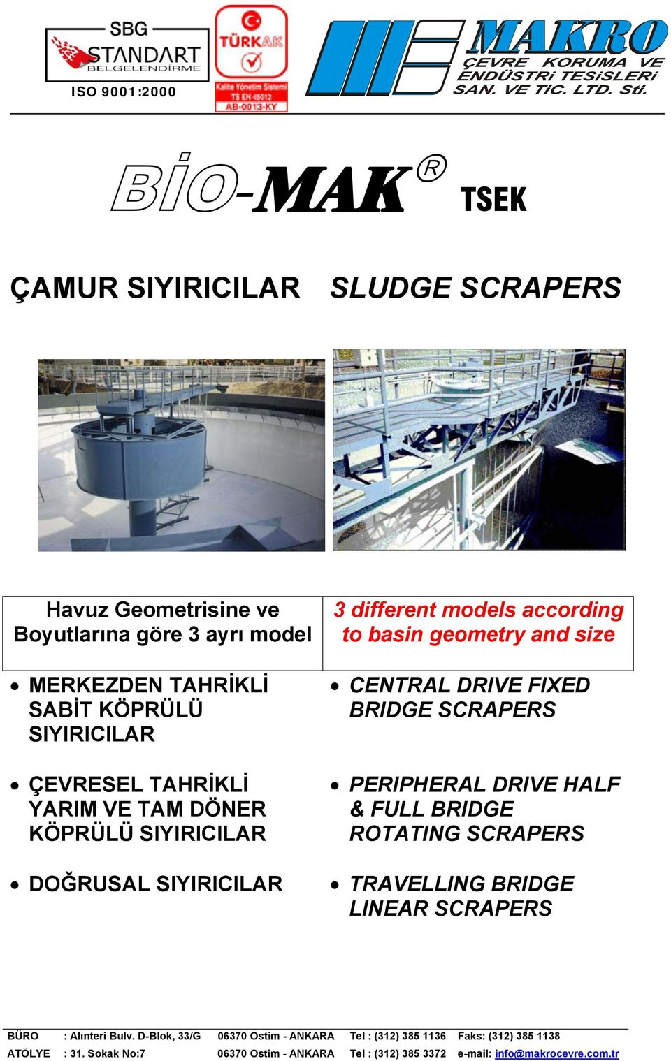 SIYIRICILAR DOĞRUSAL SIYIRICILAR 3 different models according to basin geometry and size CENTRAL