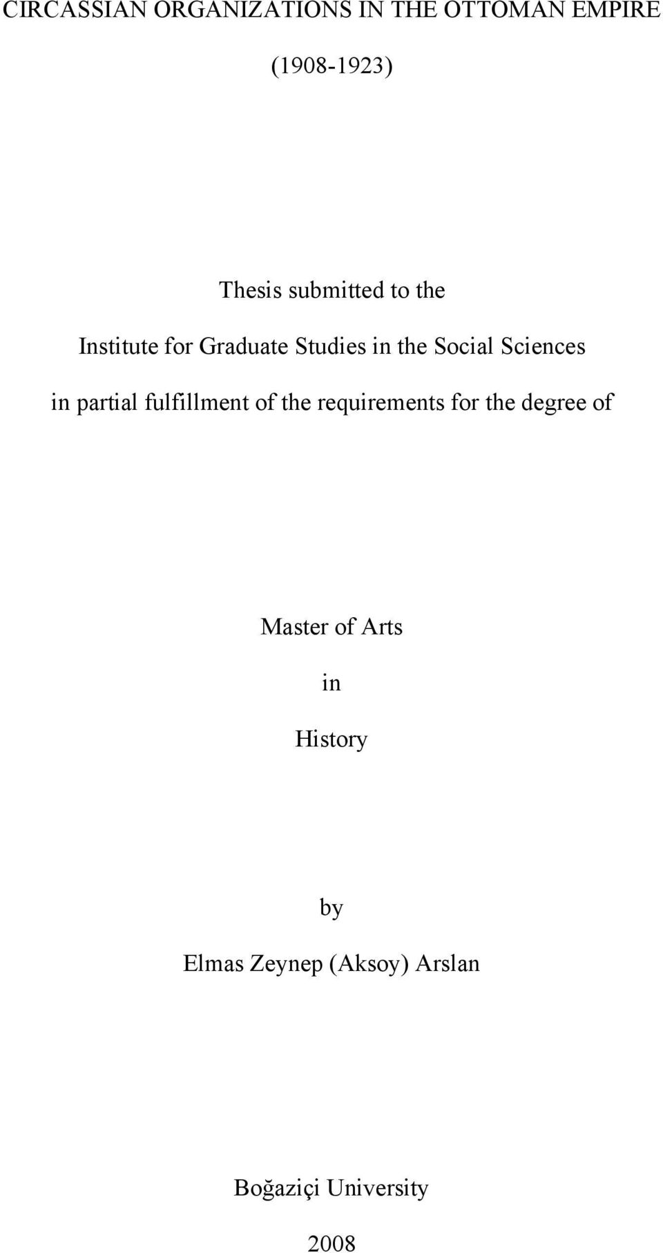Sciences in partial fulfillment of the requirements for the degree of