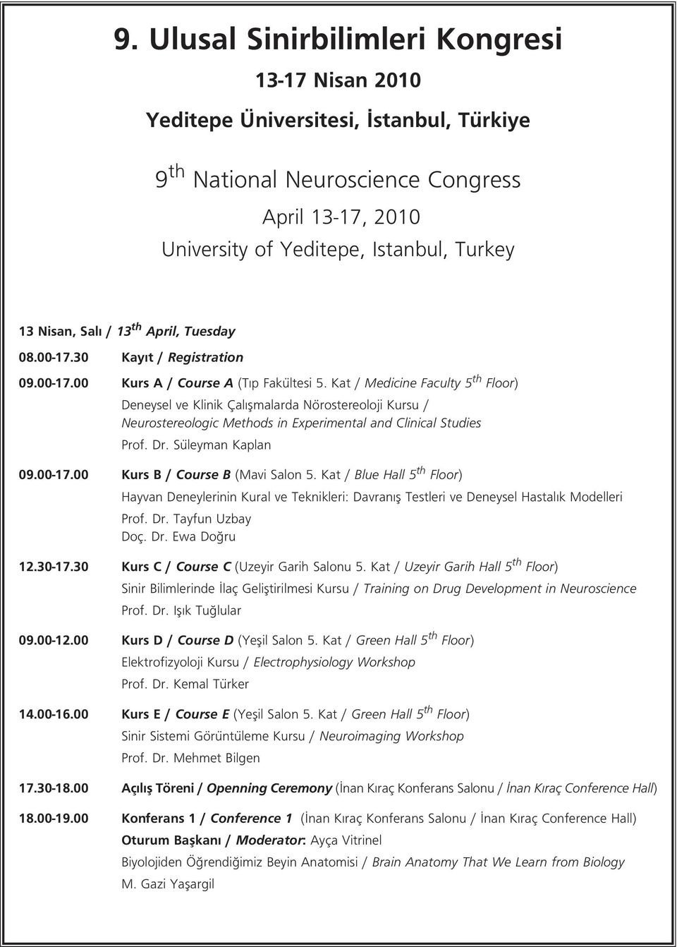 Kat / Medicine Faculty 5 th Floor) Deneysel ve Klinik Çal flmalarda Nörostereoloji Kursu / Neurostereologic Methods in Experimental and Clinical Studies Prof. Dr. Süleyman Kaplan 09.00-17.