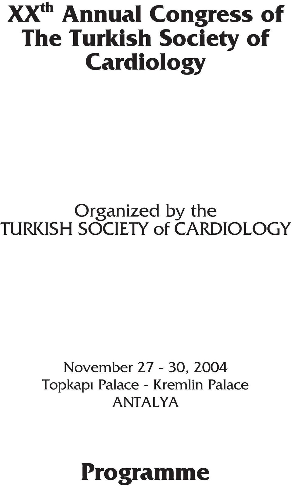 TURKISH SOCIETY of CARDIOLOGY November
