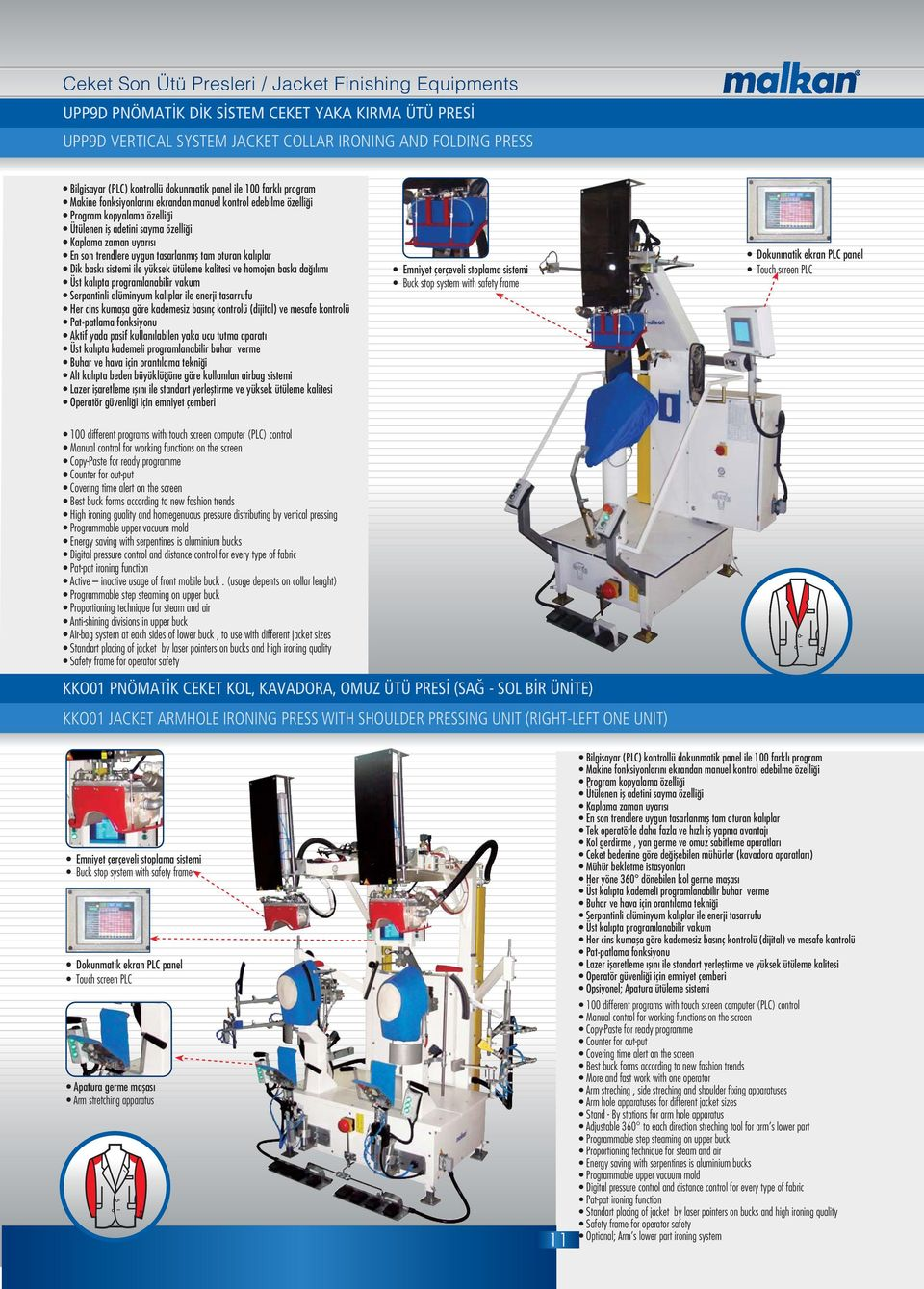 verme Alt kal pta beden büyüklü üne göre kullan lan airbag sistemi High ironing guality and homegenuous pressure distributing by vertical pressing Programmable upper vacuum mold Active inactive usage