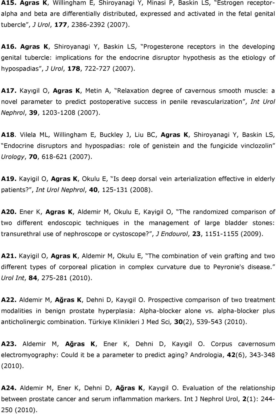 Agras K, Shiroyanagi Y, Baskin LS, Progesterone receptors in the developing genital tubercle: implications for the endocrine disruptor hypothesis as the etiology of hypospadias, J Urol, 178, 722-727
