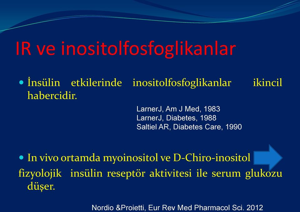 LarnerJ, Am J Med, 1983 LarnerJ, Diabetes, 1988 Saltiel AR, Diabetes Care, 1990 In