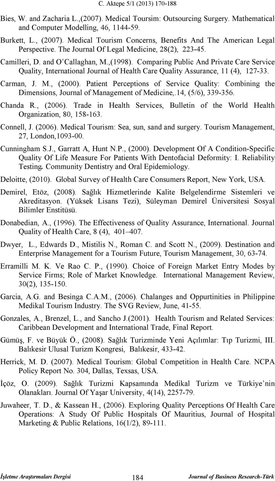 Comparing Public And Private Care Service Quality, International Journal of Health Care Quality Assurance, 11 (4), 127-33. Carman, J. M., (2000).