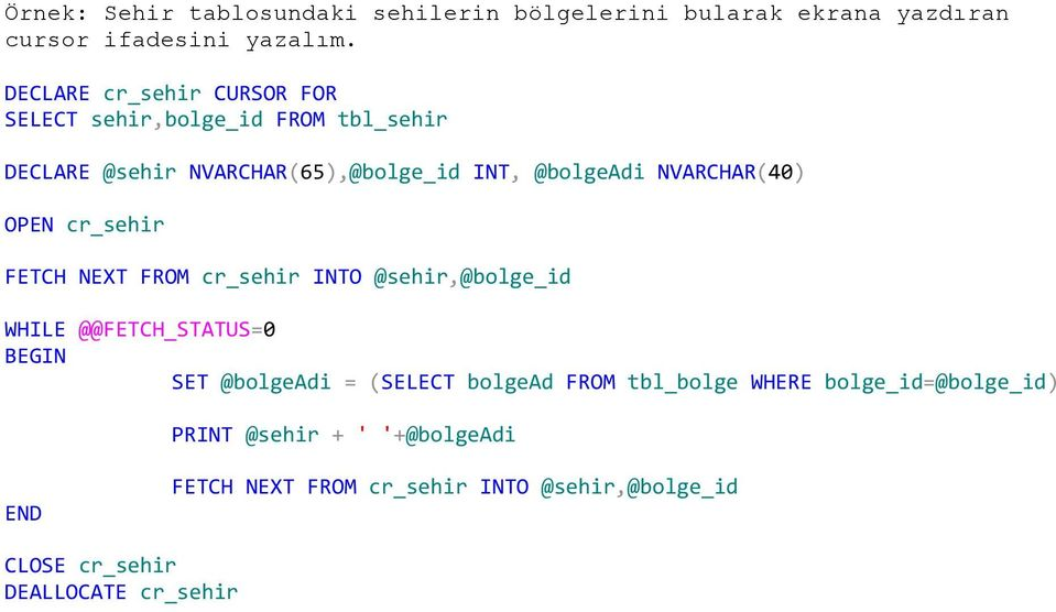 NVARCHAR(40) OPEN cr_sehir FETCH NEXT FROM cr_sehir INTO @sehir,@bolge_id WHILE @@FETCH_STATUS=0 SET @bolgeadi = (SELECT