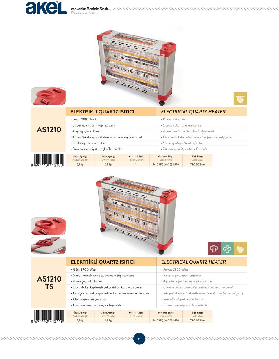 QUARTZ HEATER Pcs of Carton 1 AS1210 TS ELEKTRİKLİ