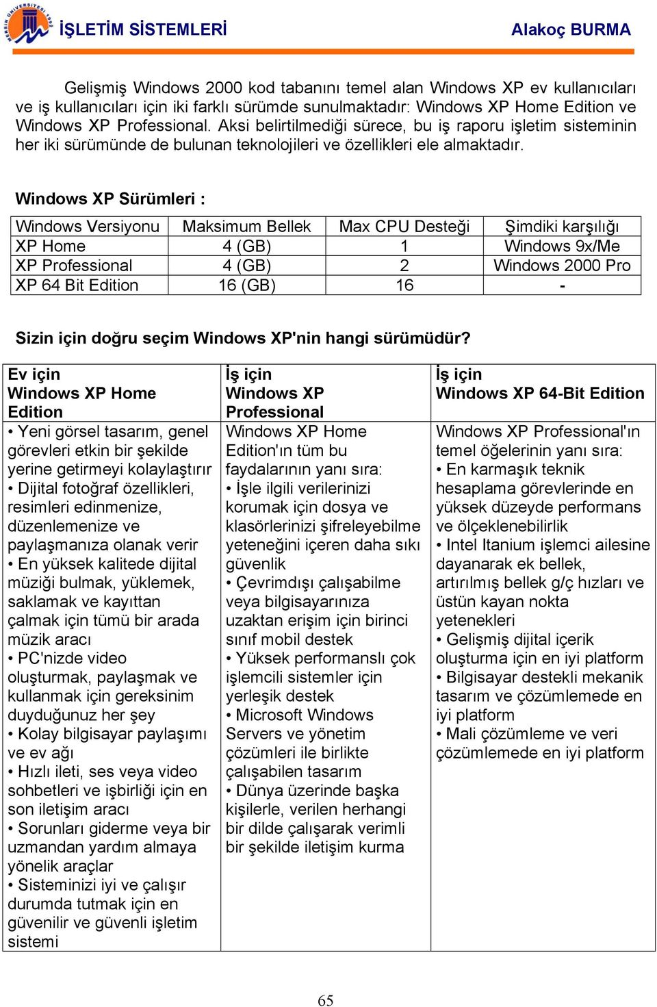 Windows XP Sürümleri : Windows Versiyonu Maksimum Bellek Max CPU Desteği Şimdiki karşılığı XP Home 4 (GB) 1 Windows 9x/Me XP Professional 4 (GB) 2 Windows 2000 Pro XP 64 Bit Edition 16 (GB) 16 -