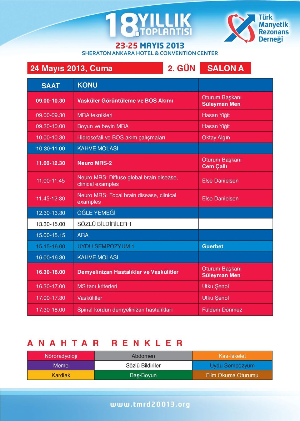 30 Neuro MRS: Diffuse global brain disease, clinical examples Neuro MRS: Focal brain disease, clinical examples Else Danielsen Else Danielsen 12.30-13.30 ÖĞLE YEMEĞİ 13.30-15.00 SÖZLÜ BİLDİRİLER 1 15.