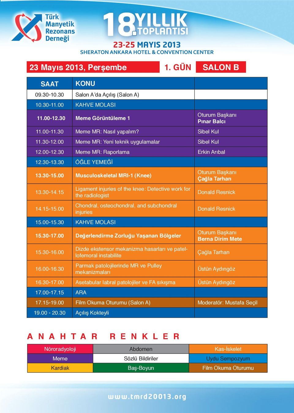 00 Ligament injuries of the knee: Detective work for the radiologist Chondral, osteochondral, and subchondral injuries 15.00-15.30 KAHVE MOLASI 15.30-17.00 Değerlendirme Zorluğu Yaşanan Bölgeler 15.