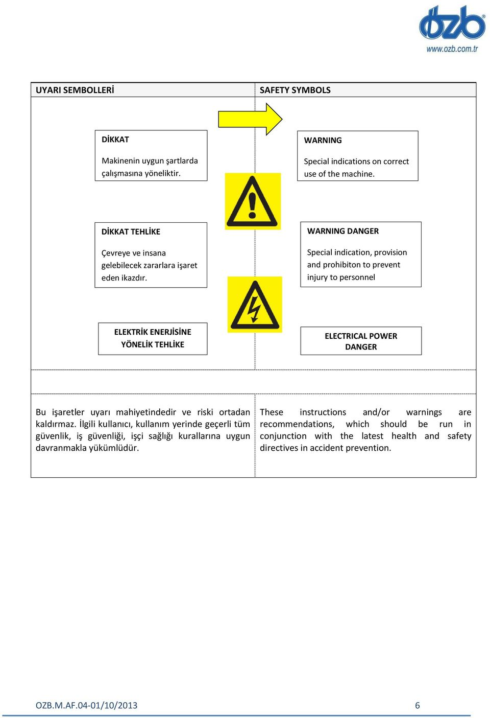 WARNING DANGER Special indication, provision and prohibiton to prevent injury to personnel ELEKTRİK ENERJİSİNE YÖNELİK TEHLİKE ELECTRICAL POWER DANGER Bu işaretler uyarı mahiyetindedir